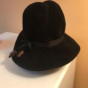 Vintage Hat Black Felt Lucite Beads